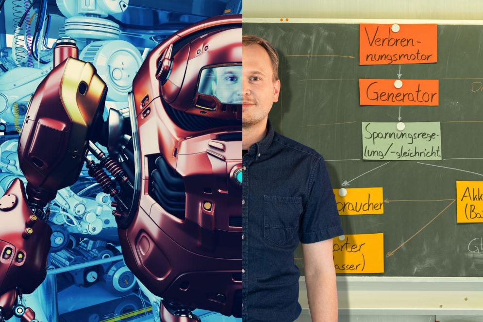 Herr Seyd ist Lehrer für Fahrzeugtechnik in Mühlhausen